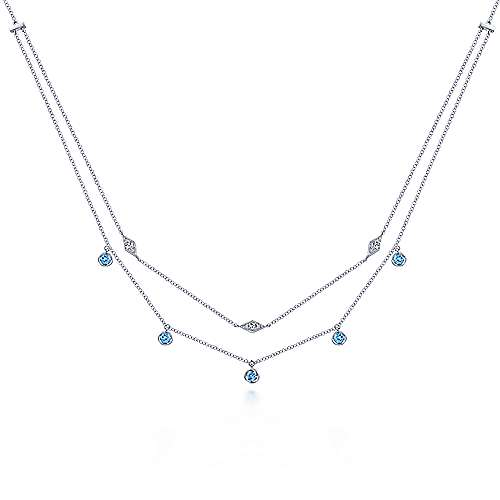 14k White Gold Color Solitaire Station Necklace angle 1