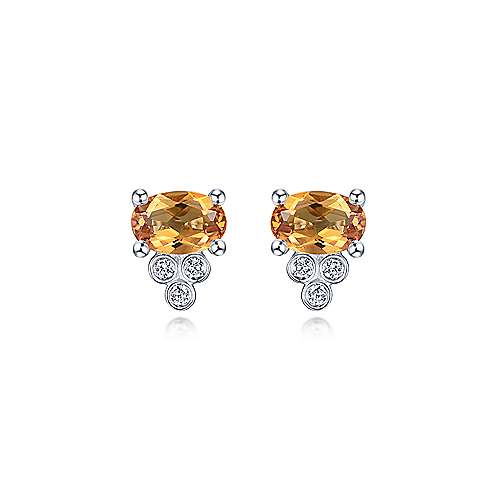14k White Gold Color Solitaire Stud Earrings angle 3