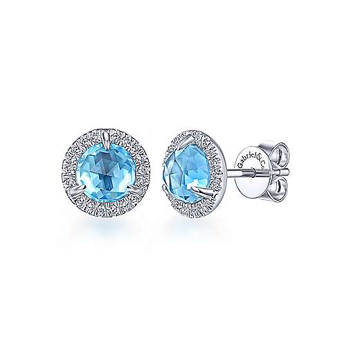 14k White Gold Color Solitaire Stud Earrings