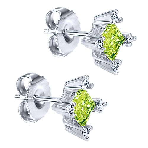 14k White Gold Color Solitaire Stud Earrings angle 2