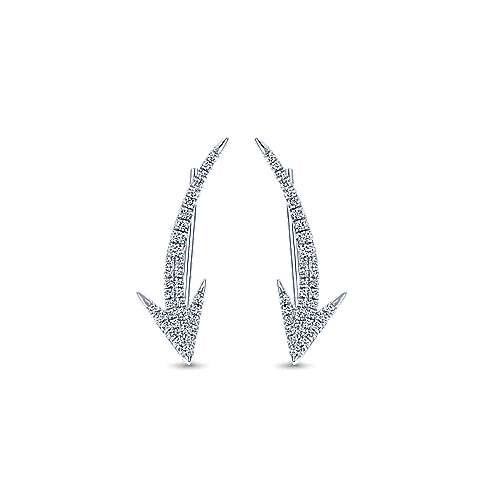 Gabriel - 14k White Gold Comets Ear Climber Earrings