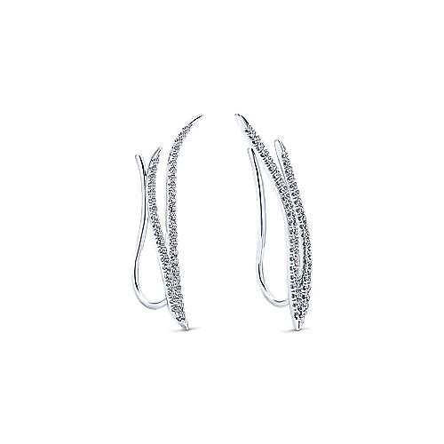 14k White Gold Comets Ear Climber Earrings angle 2