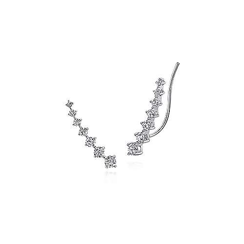 14k White Gold Comets Ear Climber Earrings angle 1