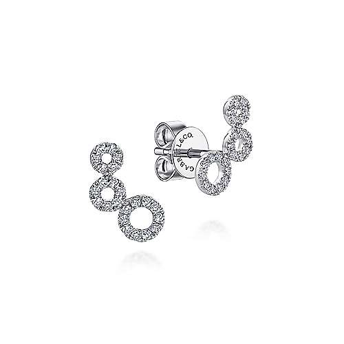Gabriel - 14k White Gold Comets Stud Earrings
