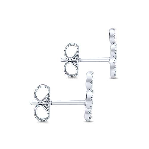 14k White Gold Comets Stud Earrings angle 3