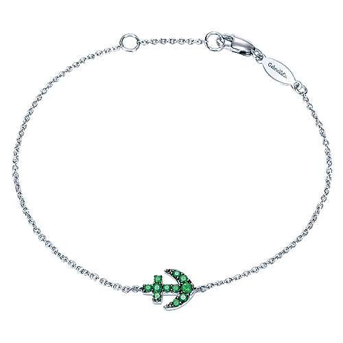 14k White Gold Contemporary Anchor Bracelet angle 1