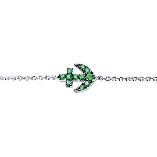 14k White Gold Contemporary Anchor Bracelet angle 2