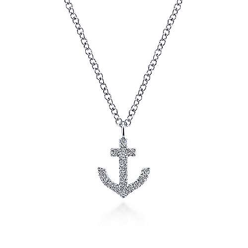 14k White Gold Contemporary Anchor Necklace angle 1