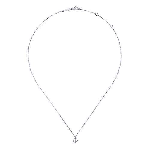 14k White Gold Contemporary Anchor Necklace angle 2