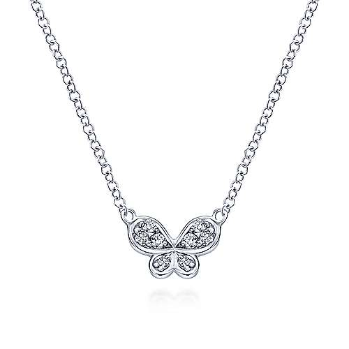 14k White Gold Contemporary Butterfly Necklace angle 1