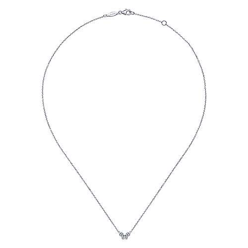 14k White Gold Contemporary Butterfly Necklace angle 2