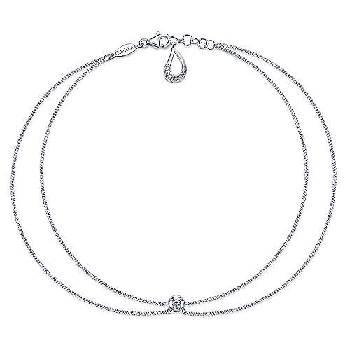 Gabriel - 14k White Gold Contemporary Chain Ankle Bracelet