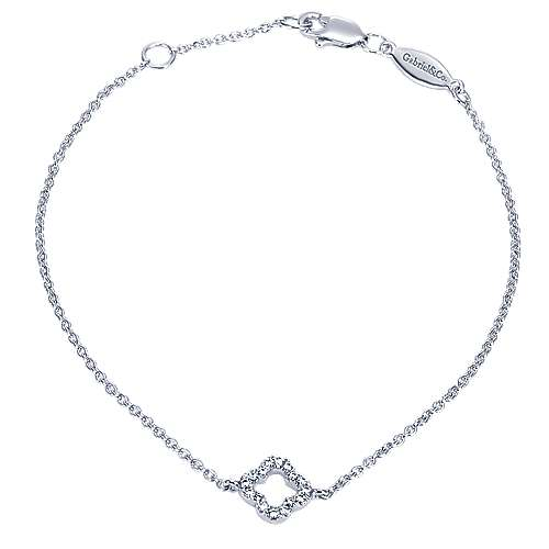 14k White Gold Contemporary Chain Bracelet angle 1