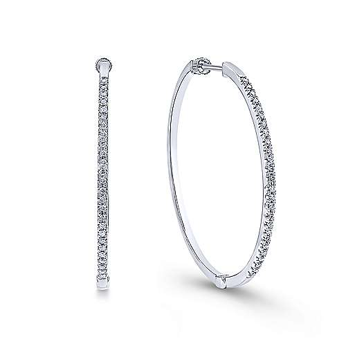 14k White Gold Contemporary Classic Hoop Earrings