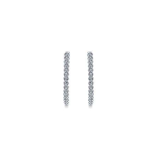 14k White Gold Contemporary Classic Hoop Earrings angle 3