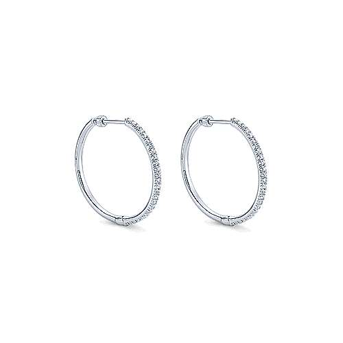 14k White Gold Contemporary Classic Hoop Earrings angle 1