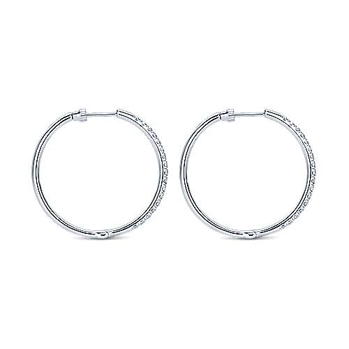 14k White Gold Contemporary Classic Hoop Earrings angle 2