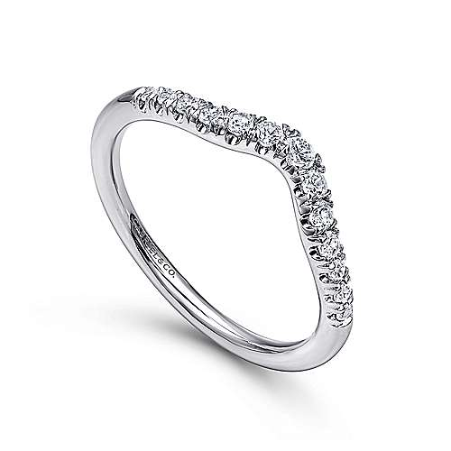 14k White Gold Contemporary Curved Anniversary Band