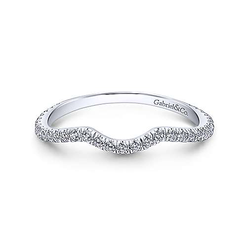 Gabriel - 14k White Gold Contemporary Curved Wedding Band