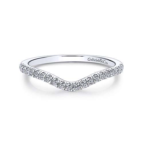 14k White Gold Princess Cut Curved