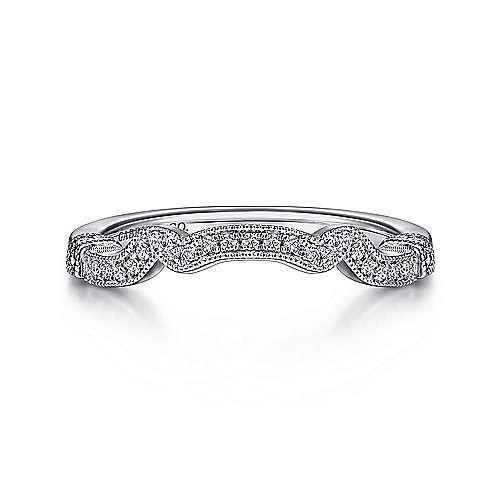14k White Gold Round Curved