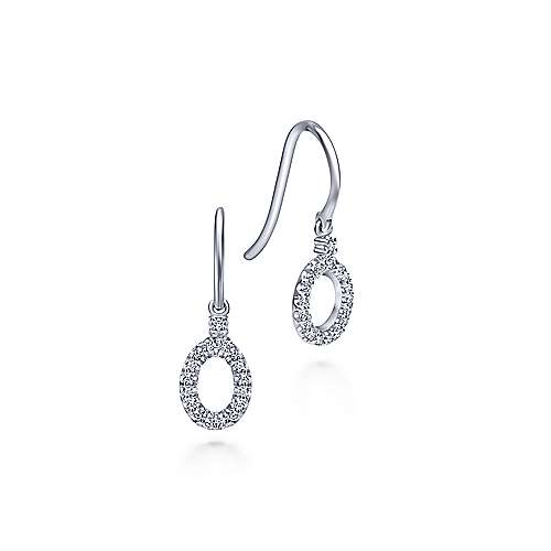 14k White Gold Contemporary Drop Earrings angle 1