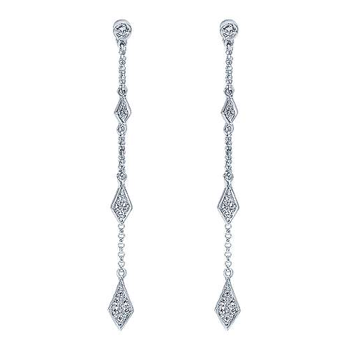 Gabriel - 14k White Gold Contemporary Drop Earrings