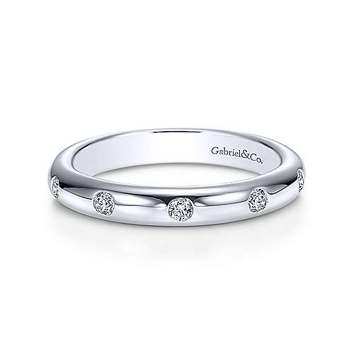14k White Gold Contemporary Eternity Anniversary Band angle 1