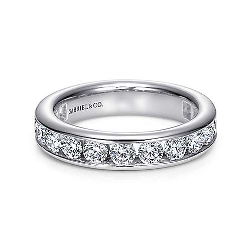 14k White Gold Contemporary Eternity Band Anniversary Band angle 1