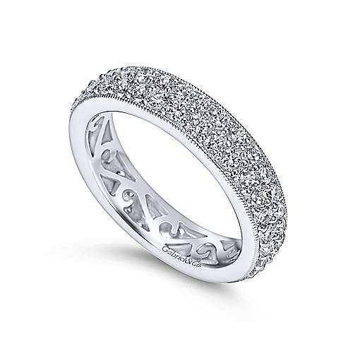 14k White Gold Contemporary Eternity Band Anniversary Band angle 3