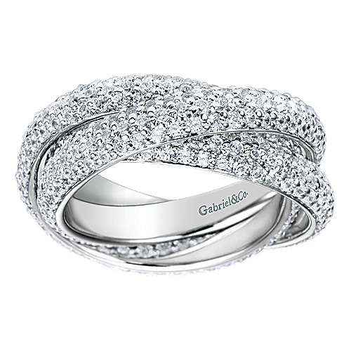 14k White Gold Contemporary Eternity Band Anniversary Band angle 5