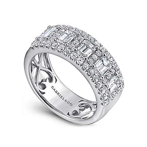 14k white gold contemporary fancy anniversary band angle 3 - Fancy Wedding Rings