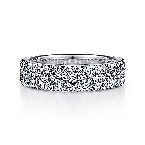 14k White Gold Contemporary Fancy Anniversary Band