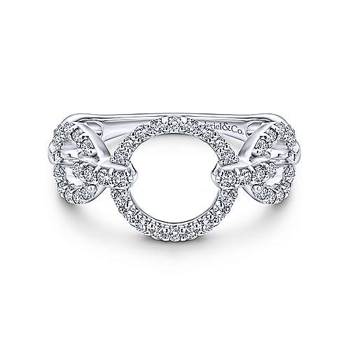 14k White Gold Contemporary Fashion Ladies' Ring angle 1