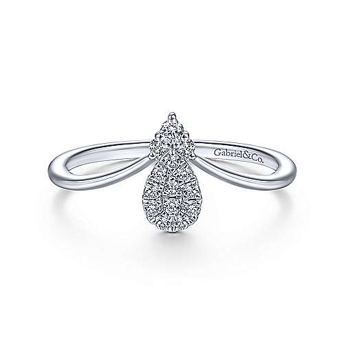 14k White Gold Contemporary Fashion Ladies' Ring