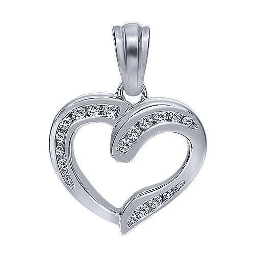 Gabriel - 14k White Gold Contemporary Heart Heart Pendant