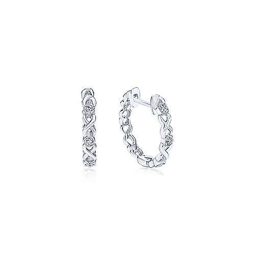 14k White Gold Contemporary Huggie Earrings angle 1