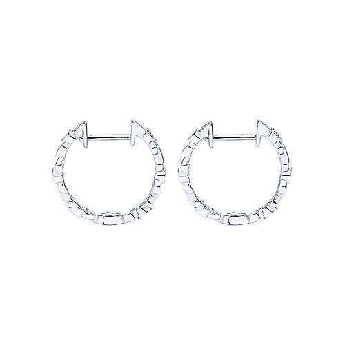 14k White Gold Contemporary Huggie Earrings angle 2