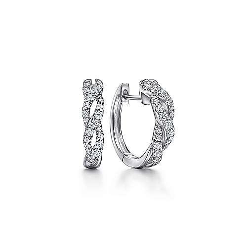 14k White Gold Contemporary Huggie Earrings