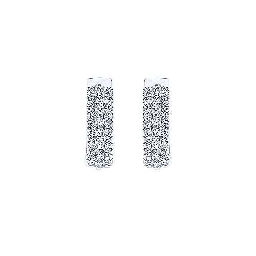 14k White Gold Contemporary Huggie Earrings angle 3