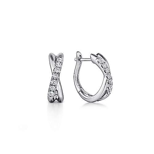 14k White Gold Contemporary Huggie Earrings