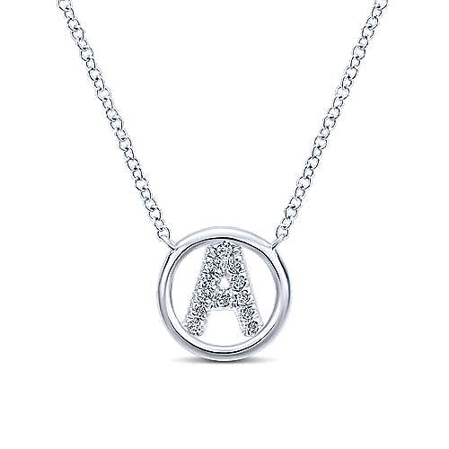 14k White Gold Contemporary Initial Necklace angle 1