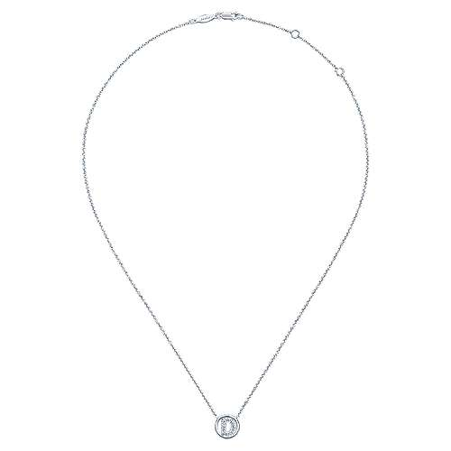 14k White Gold Contemporary Initial Necklace angle 2