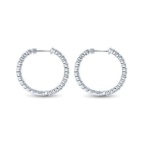 14k White Gold Contemporary Inside Out Diamond Hoop Earrings angle 2
