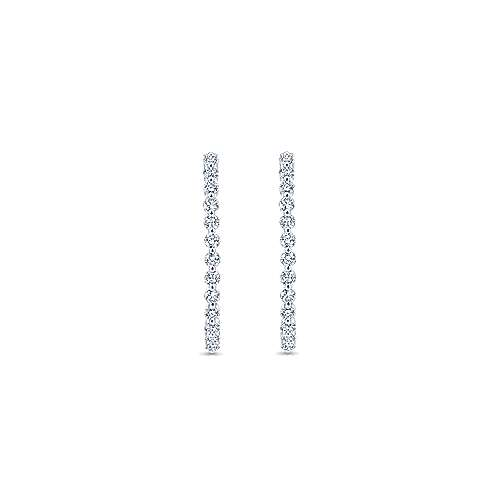 14k White Gold Contemporary Inside Out Diamond Hoop Earrings angle 3