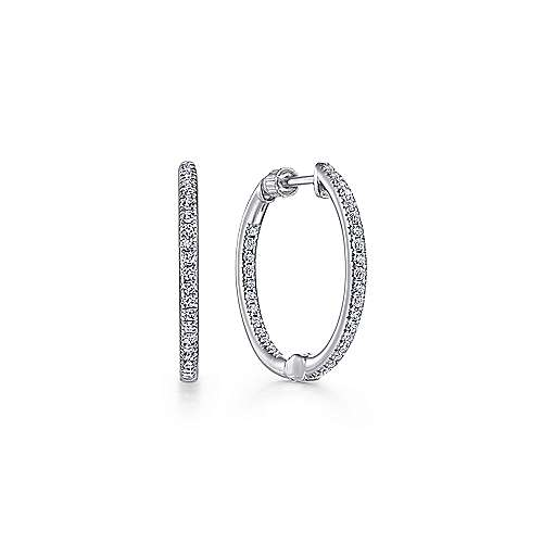 14k White Gold Contemporary Inside Out Diamond Hoop Earrings angle 1