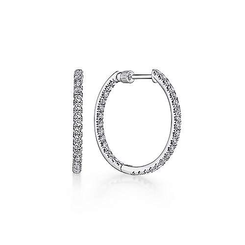 Gabriel - 14k White Gold Contemporary Inside Out Diamond Hoop Earrings