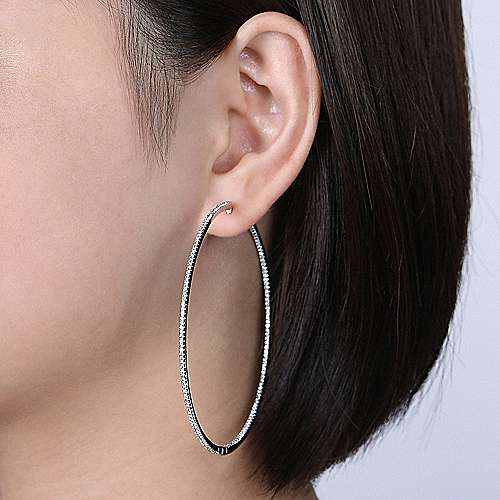 14k White Gold Contemporary Inside Out Diamond Hoop Earrings angle 4