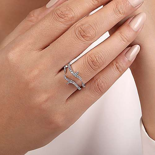 14k White Gold Contemporary Jacket Anniversary Band angle 5