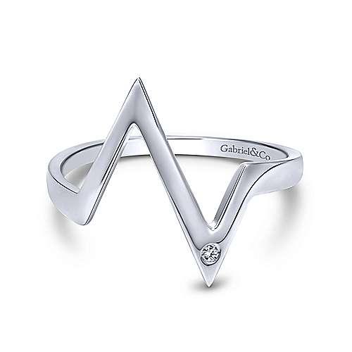 14k White Gold Contemporary Midi Ladies' Ring angle 1